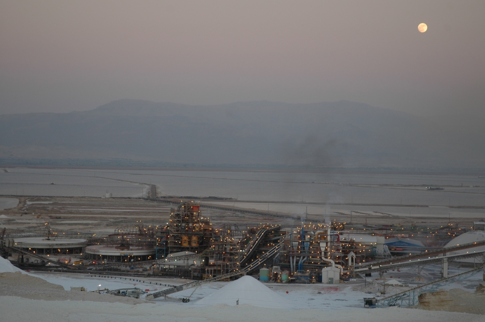 Full moon over Dead Sea Works