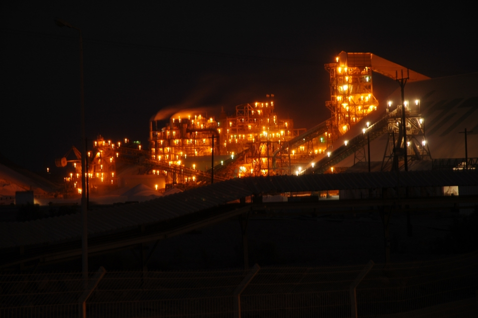 Dead Sea Works lit up at night