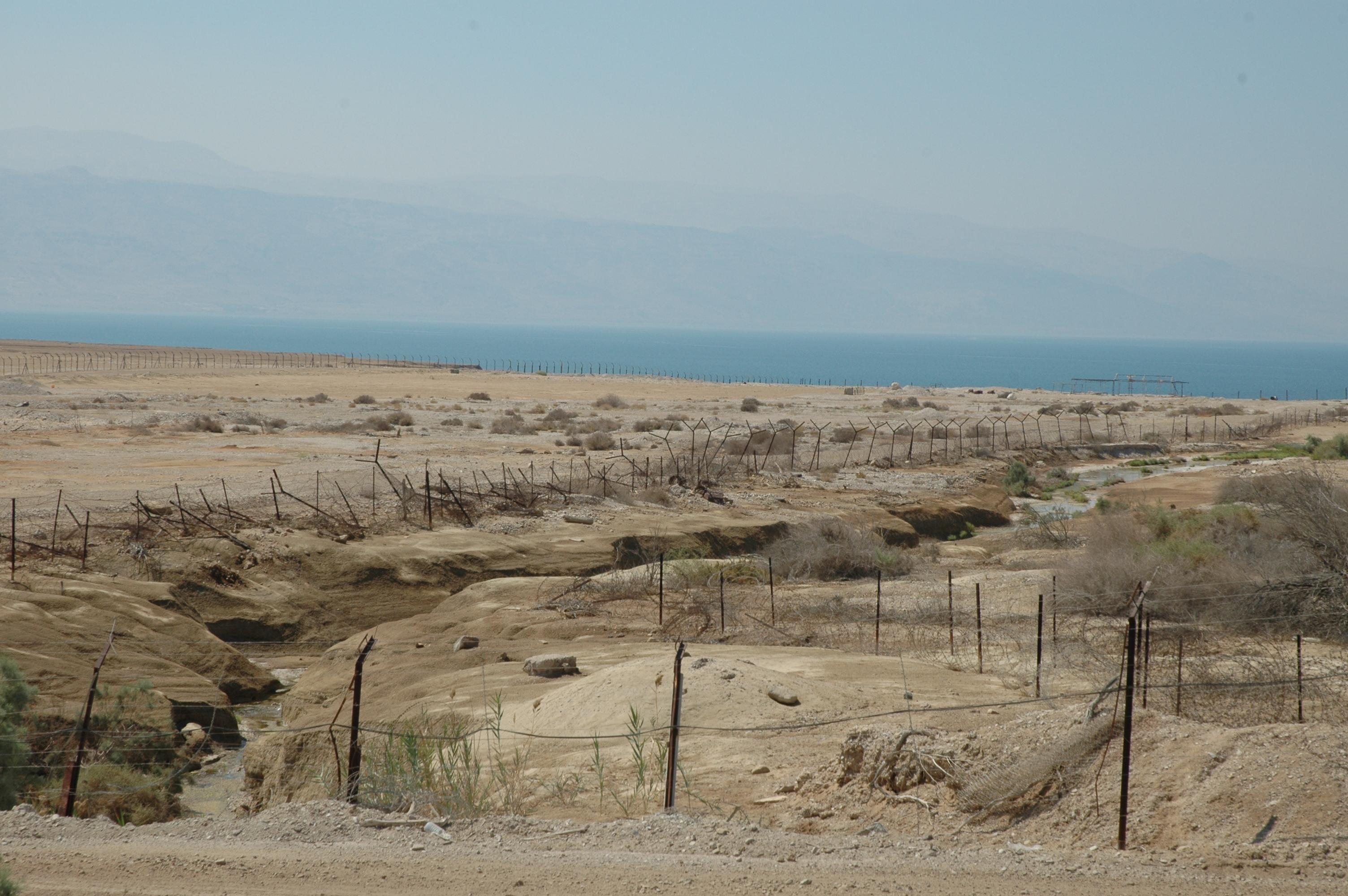 Jordan River flowing into Dead Sea