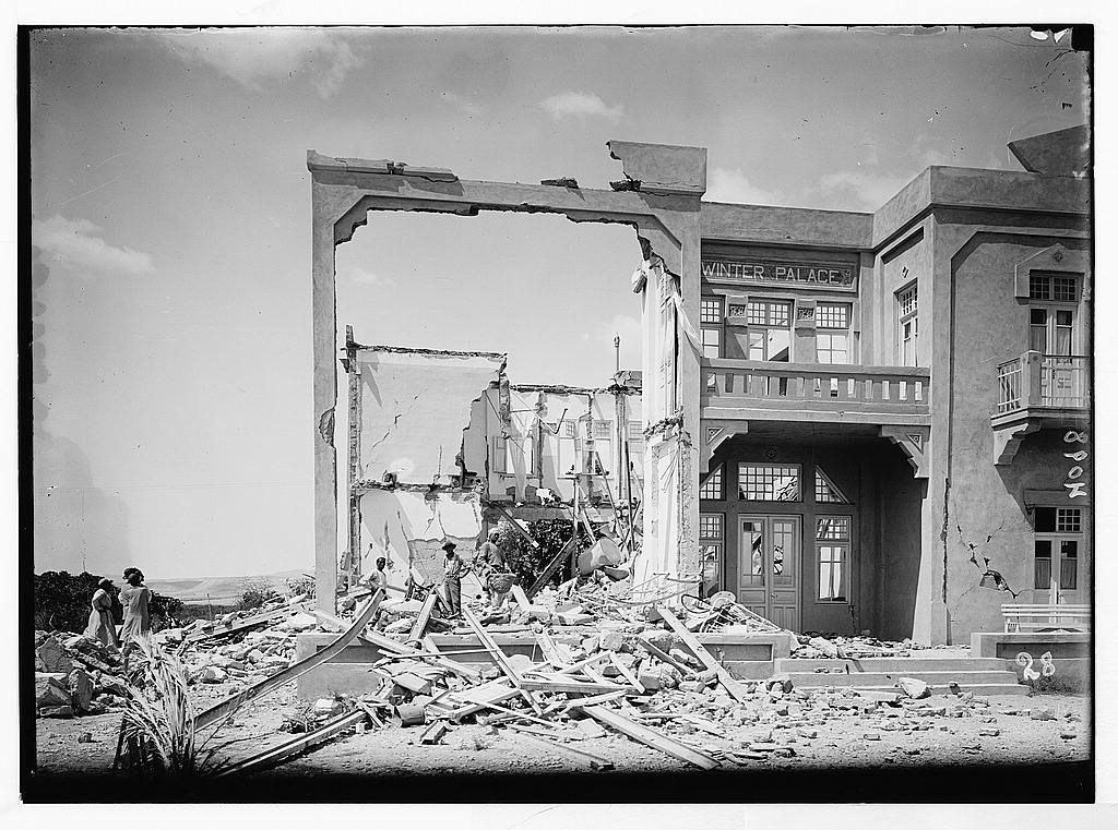 Earthquake in Jericho, 1927.  Photo: Matson collection.