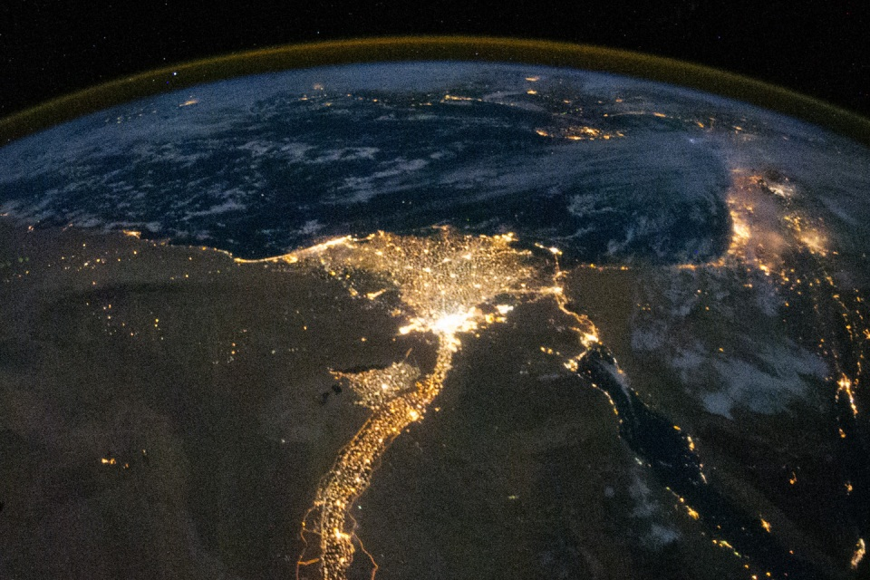 Lights over Egypt, Israel and Jordan from Space