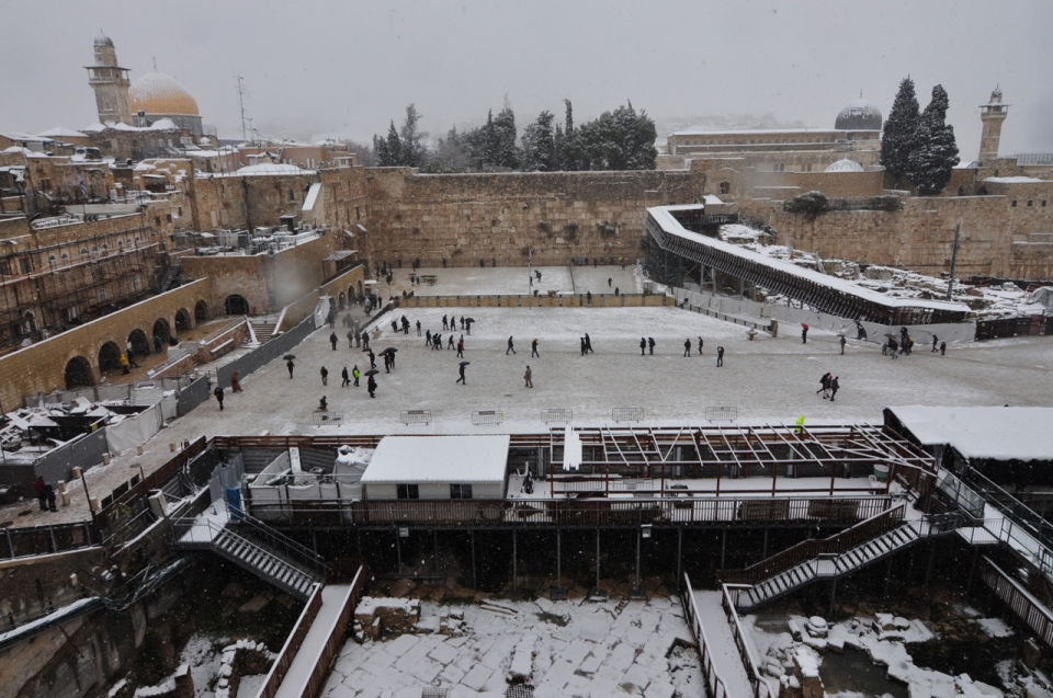 Overlooking Kotel Plaza in snow