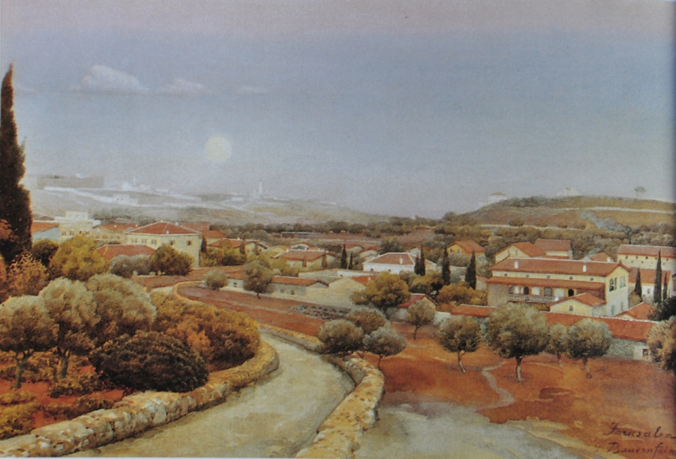 German Colony, aquarelle by Gustav Bauernfeind