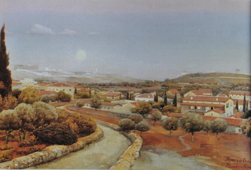 German Colony, aquarelle by Gustav Bauernfeind