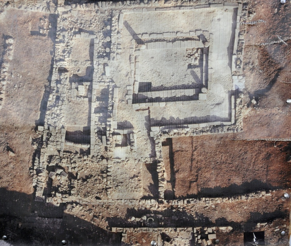 Synagogue 1st C at Magdala aerial